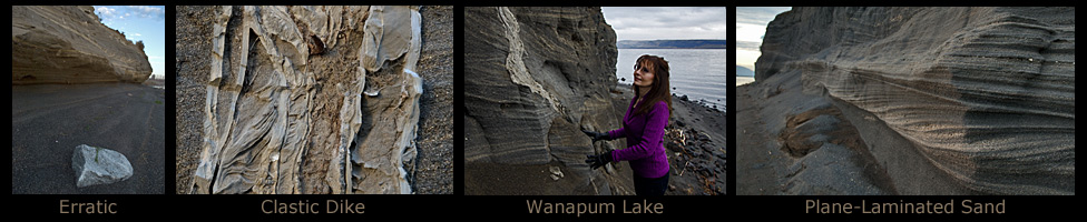 Clastic dikes and plan-laminated sand. Wanapum State Park.