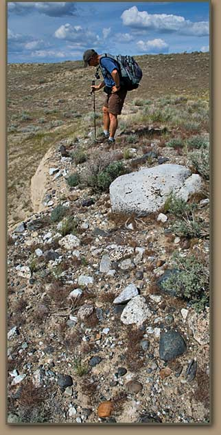 Geologist/Author Bruce Bjornstad inpects a small bergmound in the Pasco Basin.